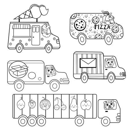Funny coloring kids transport set with animals. Delivery trucks cartoon black and white vector illustration isolated on white background
