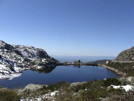 Blue Lake in the  mountain Serra de Estrela Stock Photo