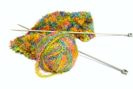 wool and knitting needles - isolated Stock Photo