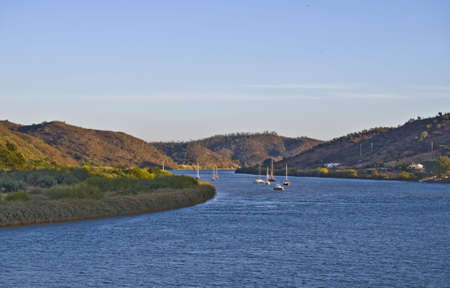 Frontier between Portugal and Spain, river Guadiana  Stock Photo