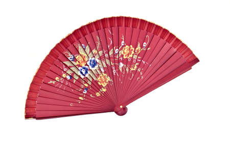 Red Spanish fan isolated  on the white background