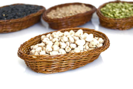 Lentil,bean   and pea in the plate isolated on the white background Stock Photo
