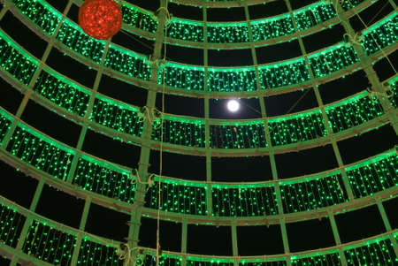 Christmas and New Year illumination red and green Stock Photo - 6017644