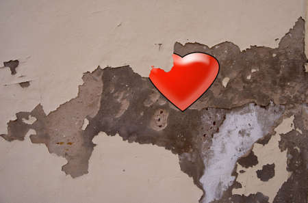 The Abstract  stone wall  with heart for a background photo