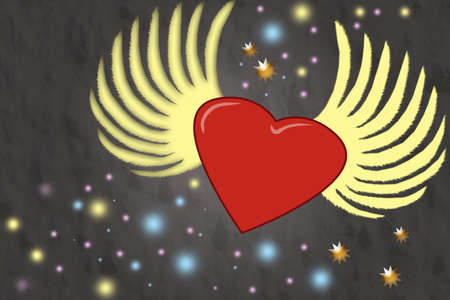 Red heart with wings on abstract background