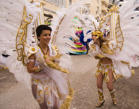 LOULE, PORTUGAL - FEBRUARY 16: Parade participants dance during the Carnival Loule Parade February 16, 2010 in Loule, Portugal.
