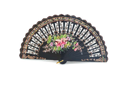 A beautiful hand-painted fan from Spain on the white background Stock Photo