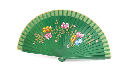 A beautiful green hand-painted fan from Spain Stock Photo