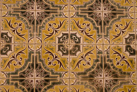 The polychrome ceramic tiled panel tipical in Portugal