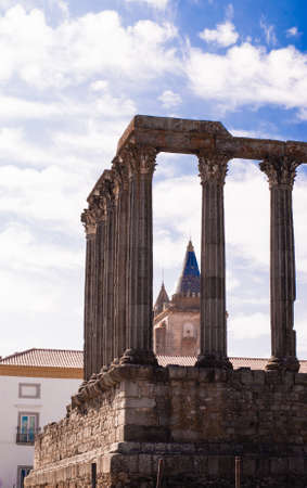 Portugal, Alentejo, Evora: Diana Temple ; the temple was constructed in first century AD in honour of emperor August