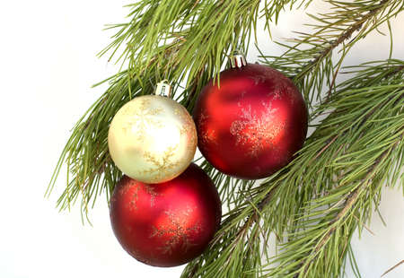 The christmas balls on the brach isolated photo