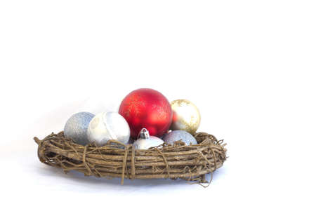 The christmas balls isolated on white  Stock Photo