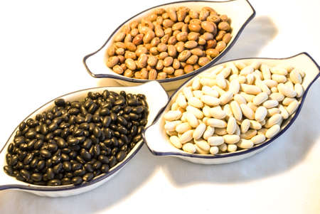 Varies of soya and beans isolated on white