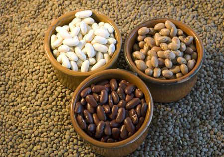 Varies of beans  on green lentil  Stock Photo