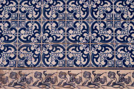 Detail of traditional tiles from facades of old houses in Lisbon, Portugal