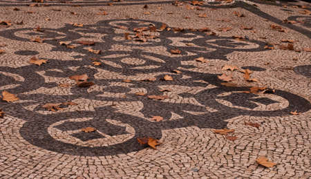 lisbon portugal abstract tile pavement patterns as a background