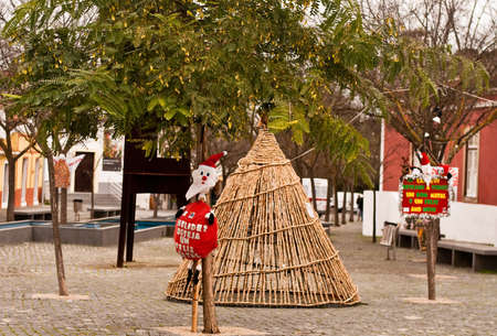 Christmas decoration in streets of city  in Portugal Stock Photo