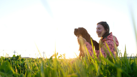 Woman playing with dog at sunset, young girl with pet sitting on grass and relaxing in nature