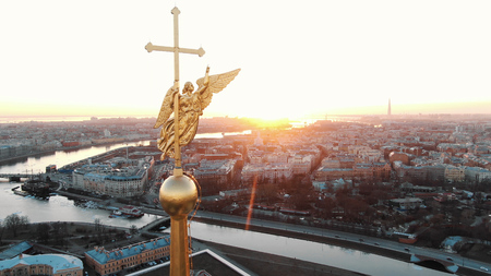 Awesome flight on drone over the Peter and Paul Fortress in St. Petersburg at sunset Stock Photo