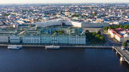 Aerial view cityscape of city center, Palace square, State Hermitage museum , Neva river. Saint Petersburg skyline. Reklamní fotografie