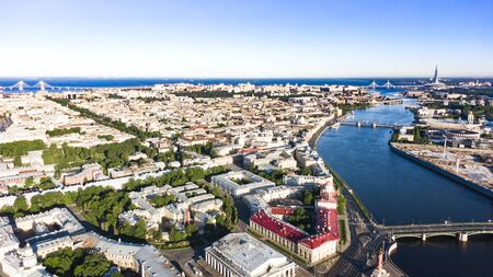The Spit of Vasilievsky Island, aerial view on city Saint-Petersburg