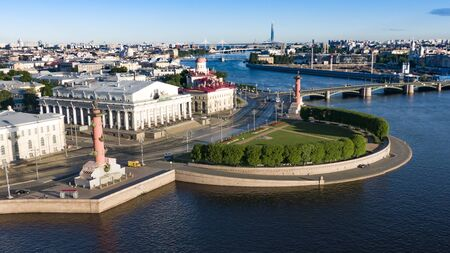 Aerial view of the spit of Vasilievsky island in Saint-Petersburg
