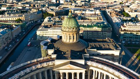Aerial view of the Kazan Cathedral in the summer at dawn, Saint-Petersburg historical city center, puteshestvija and city tours Reklamní fotografie