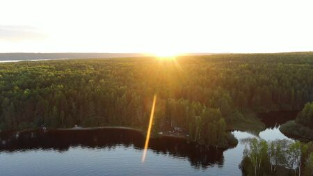 bright summer sun rises over green dense forest at river