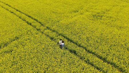 romantic couple silhouette hugs on endless yellow field