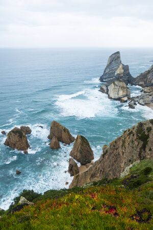 Amazing view from the height of the cliffs in the ocean on the Atlantic ocean at Cape ROCA in Portugal the westernmost point of Eurasia