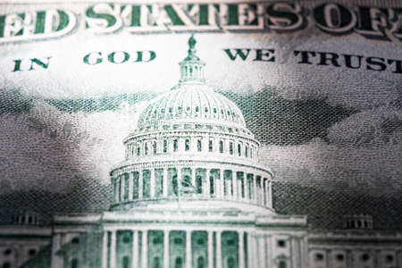 Us capitol on 50 dollar bill extreme close up