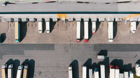 Lorry drives along large concrete ground past numerous trucks at ramps of huge warehouse buildings on sunny day aerial view
