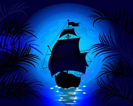 푸른 달의 배경에 바다에서 항해 배와 놀라운 밤 풍경