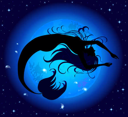 Silhouette jumped out of the water mermaid, on a background of blue mystic moon