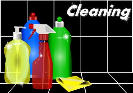 Verschiedene Reinigungsmittel gegen die schwarzen Fliesen. Reinigung.