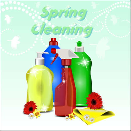 spring cleaning: Different detergents with flowers on pastel background with a pattern. Spring cleaning.