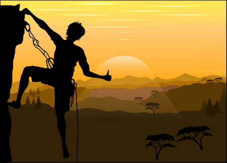 Silhouette of a climber on a rock against the evening mountain landscape Vector