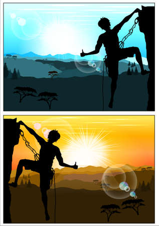 Silhouette of climber showing thumbs up against the amazing mountain scenery. Version of the day and evening landscape Vector