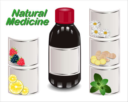 remedy: Medical syrup from different natural ingredients. Set of different labels. Natural Medicine.