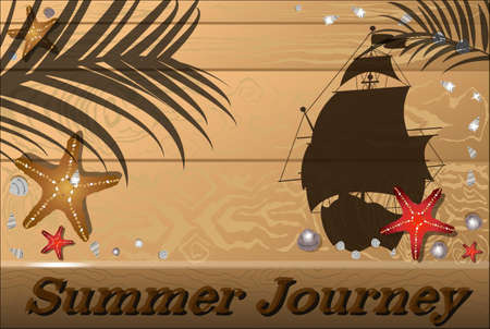 countertop: Wooden summer background with seashells, starfish, ship, and the shadow of palm trees. Illustration