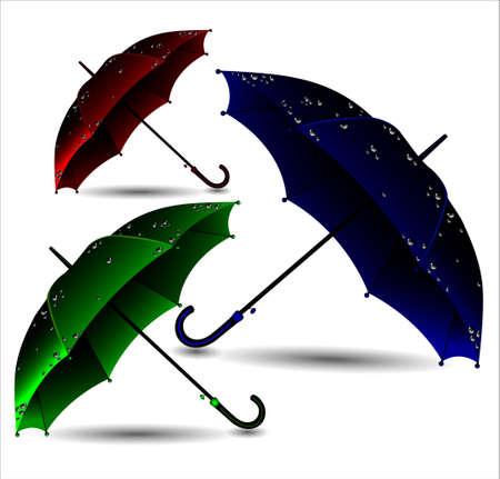 Set of different umbrellas in rain drops. Vector