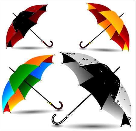 Set of different colored umbrellas in the rain drops. Vector