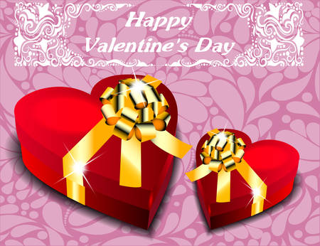 Gift boxes in the form of heart with gold bows. Valentine Vector