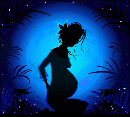staying in shape: Silhouette of a beautiful pregnant woman on a background of the starry sky and wonderful full blue moon