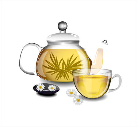 chamomile tea: Transparent teapot and a cup of green tea.