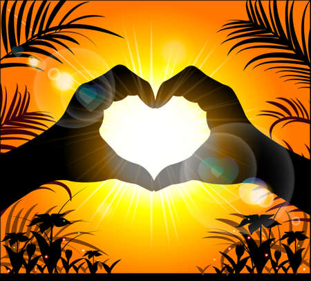 Silhouette of hands making a heart on the background of the sunset. Vector