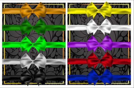 ribbons and bows: Set of colorful bows and ribbons for design. The ten colors. Illustration