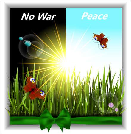 Greener grass with butterflies in the sunshine. No war. Vector