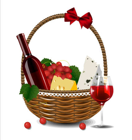 ruff: A bottle of wine, grapes and cheese in a wicker basket. Set for a picnic.