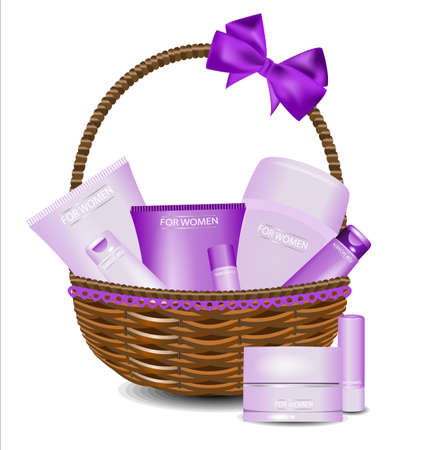 Set of different beauty products in a wicker basket. For women. Illustration
